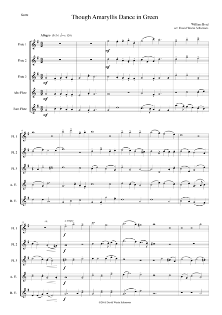 Though Amaryllis Dance in Green for flute quintet (3 flutes, Alto flute, Bass flute)