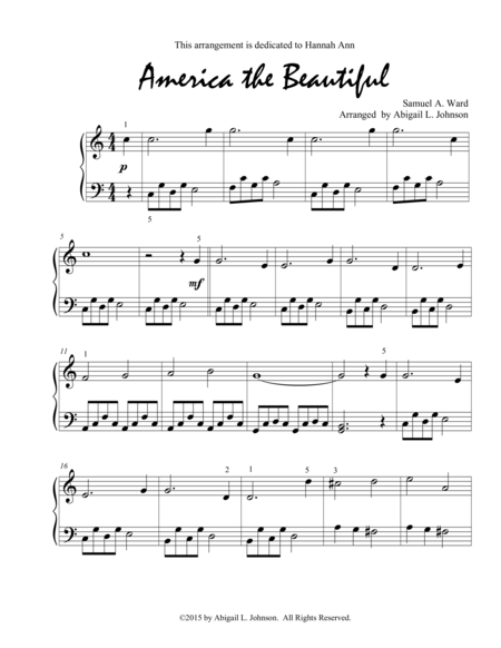 America the Beautiful - Early Intermediate Piano Solo