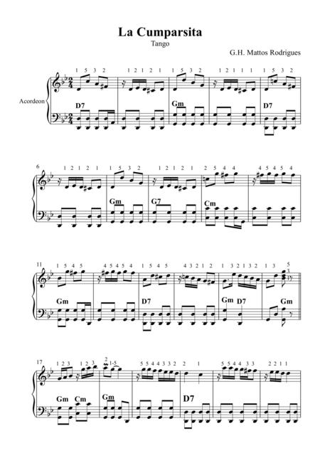 La Cumparsita (Tango) - Partitura para Acordeon, Sheet Music for Accordion