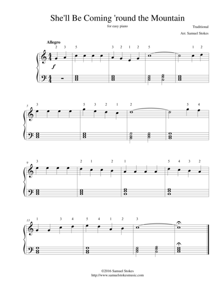 She'll Be Coming 'round the Mountain - for easy piano