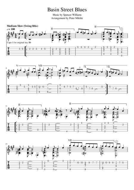 Basin Street Blues (Standard Notation and TAB)
