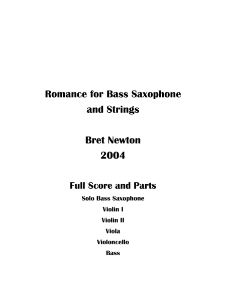 Romance for Bass Saxophone and Strings