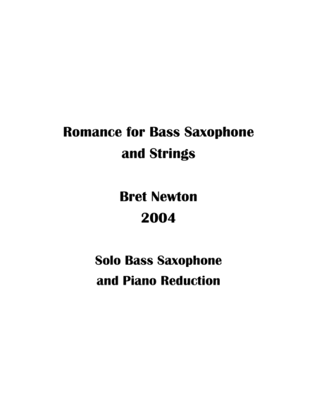 Romance for Bass Saxophone and Strings - Piano Reduction