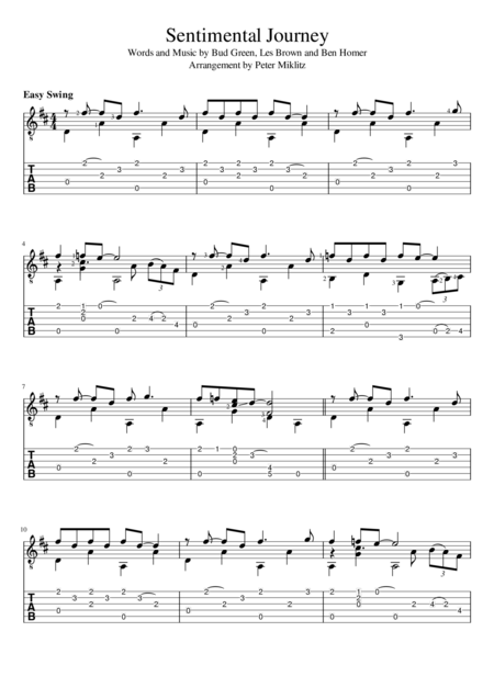 Sentimental Journey (Standard Notation and TAB)