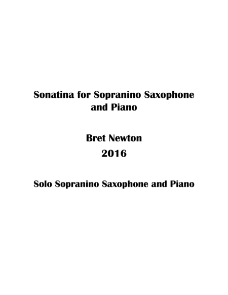 Sonatina for Sopranino Saxophone and Piano