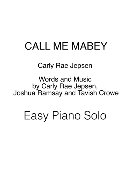 Call Me Maybe / Easy Piano Solo