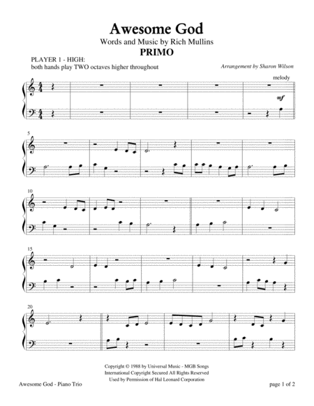 Awesome God (Easy and Intermediate Piano Trio; 1 Piano, 6 Hands)