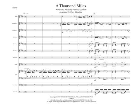 A Thousand Miles (arranged for percussion ensemble)
