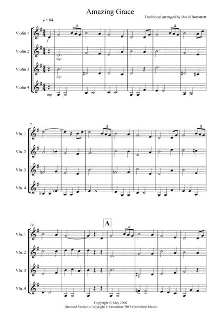Amazing Grace for Violin Quartet