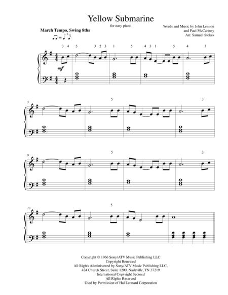 Yellow Submarine - for easy piano