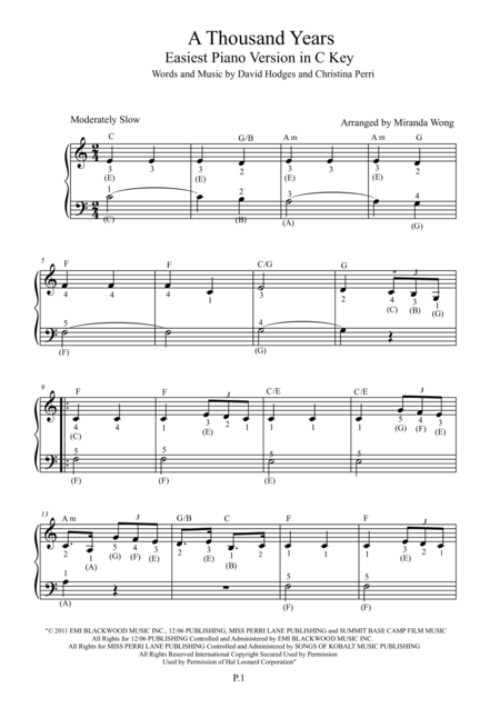 A Thousand Years - Easiest Piano Version in C Key (Full Fingerings)