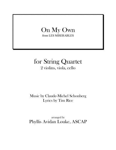 On My Own for STRING QUARTET