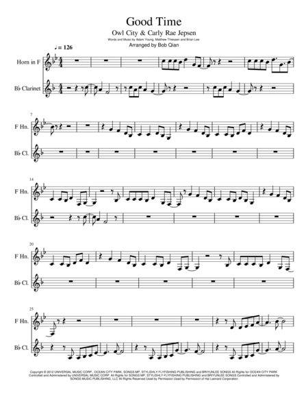 Good Time - Owl City & Carly Rae Jepsen (Clarinet & F Horn)
