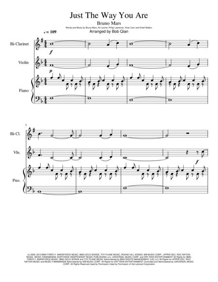Just The Way You Are - Bruno Mars \| Clarinet, Violin, Piano