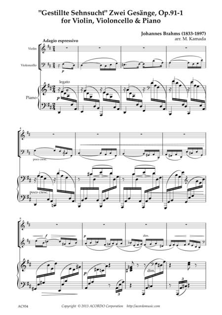 'Gestillte Sehnsucht' Zwei Gesänge, Op.91-1 for Violin, Violoncello & Piano