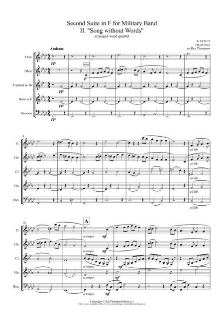 Holst: 2nd Suite in F Op.28 No.2 Mvt. II. Song without Words - wind quintet
