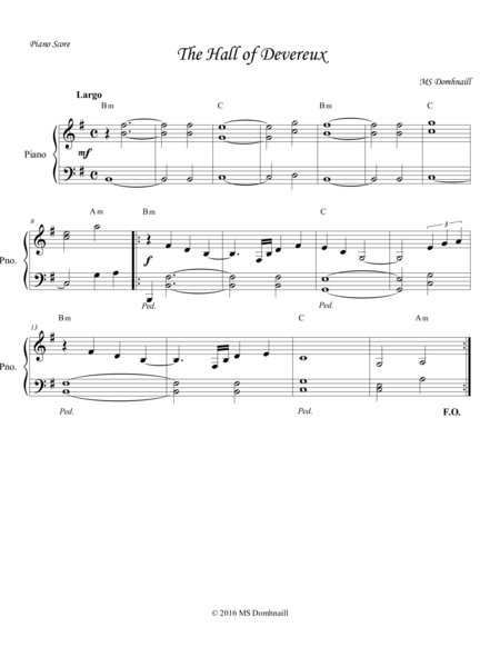 The Hall of Devereux (Piano Score)