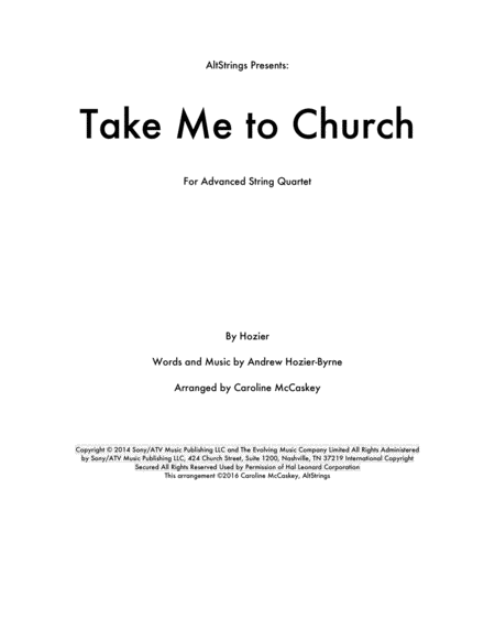 Take Me To Church - String Quartet