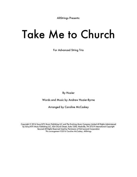 Take Me To Church - String Trio (Violin, Viola and Cello)