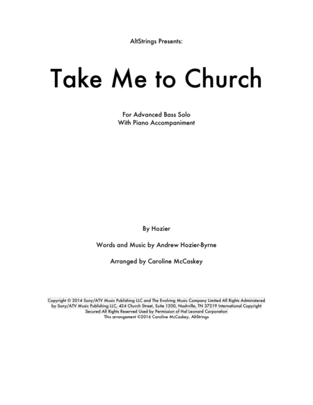 Take Me To Church - Double Bass Solo, Piano Accompaniment
