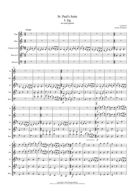 Holst: St. Paul's Suite (orig. for string orchestra) Op 29 No. 2 Mvt.1 Jig - wind quintet
