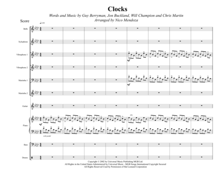 Clocks (arranged for percussion ensemble)