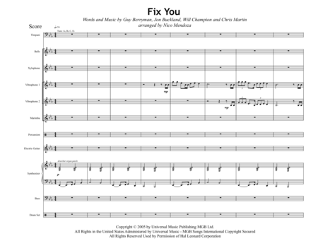 Fix You (arranged for percussion ensemble)