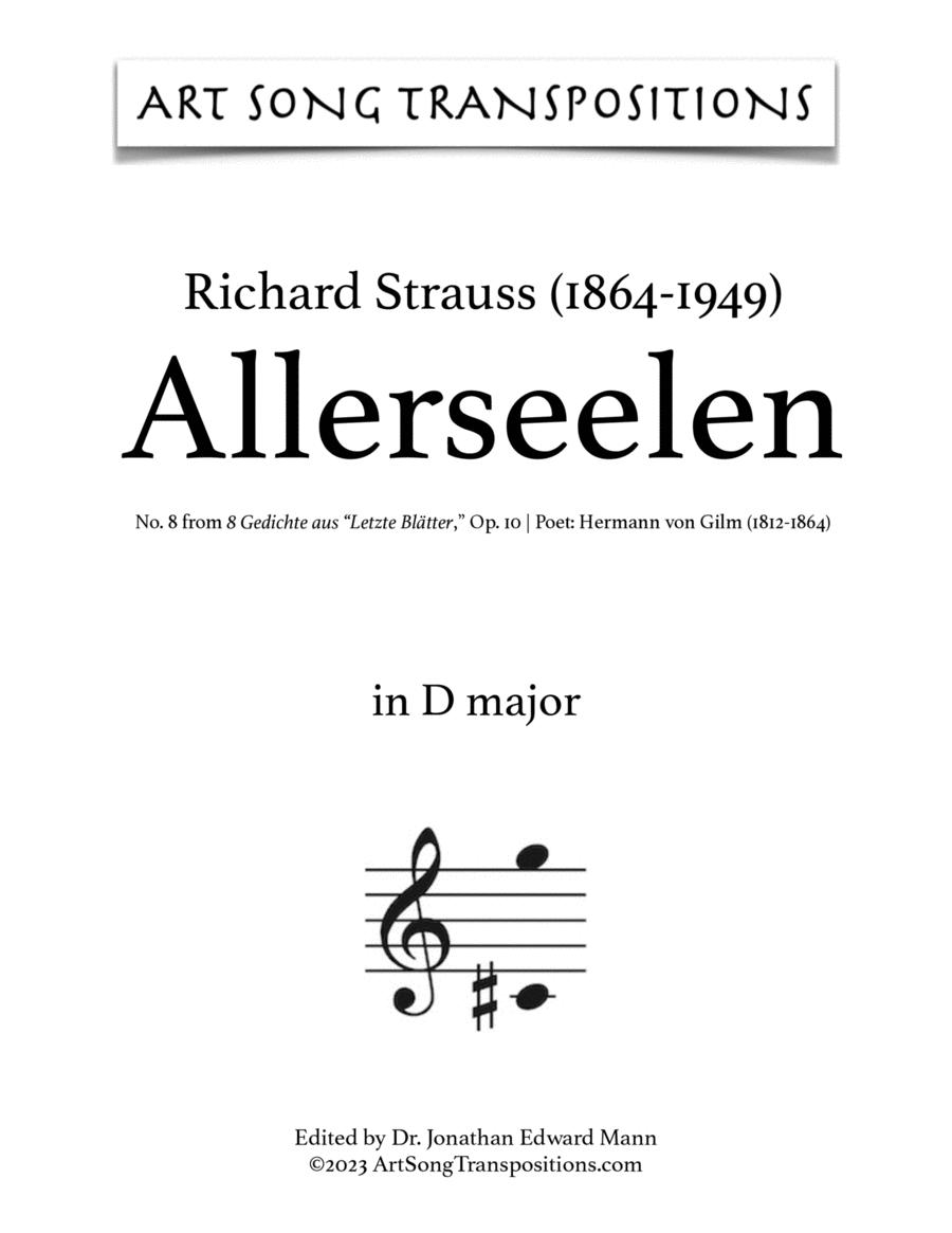 Allerseelen, Op. 10 no. 8 (D major)