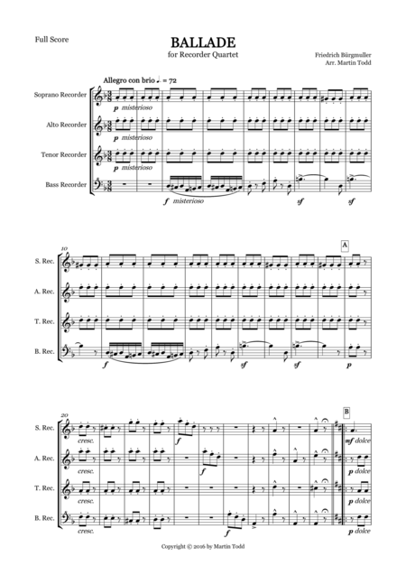 Ballade for Recorder Quartet