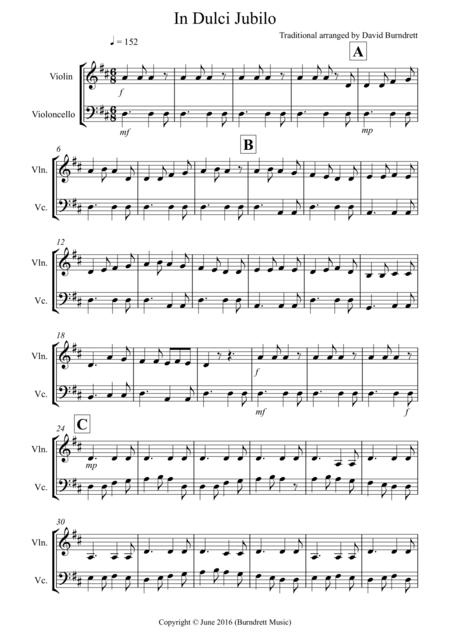 In Dulci Jubilo for Violin and Cello Duet
