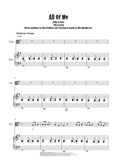 All Of Me / John Legend / Viola & Piano