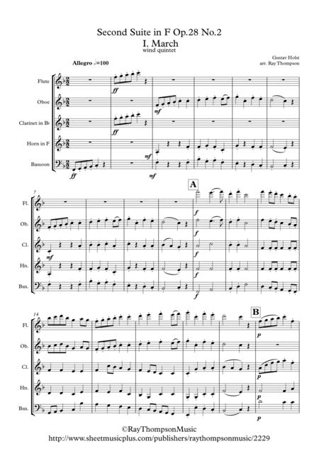 Holst: 2nd Suite in F Op.28 No.2 Mvt. I. March - wind quintet