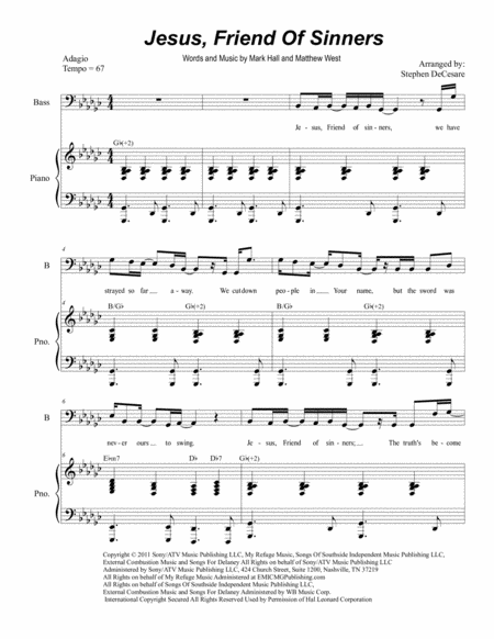 Jesus, Friend Of Sinners (Duet for Tenor and Bass Solo)