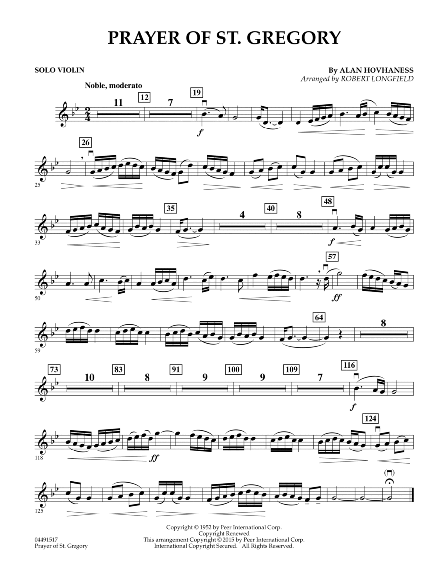 Prayer of St. Gregory (Educational Edition) - Solo Violin