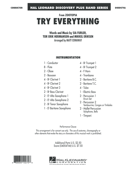 Try Everything (from Zootopia) - Full Score