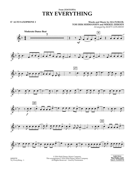 Try Everything (from Zootopia) - Eb Alto Saxophone 2