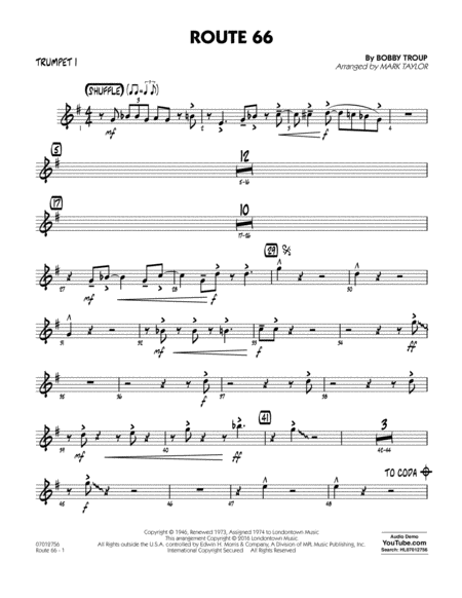 Route 66 (Key: F) - Trumpet 1