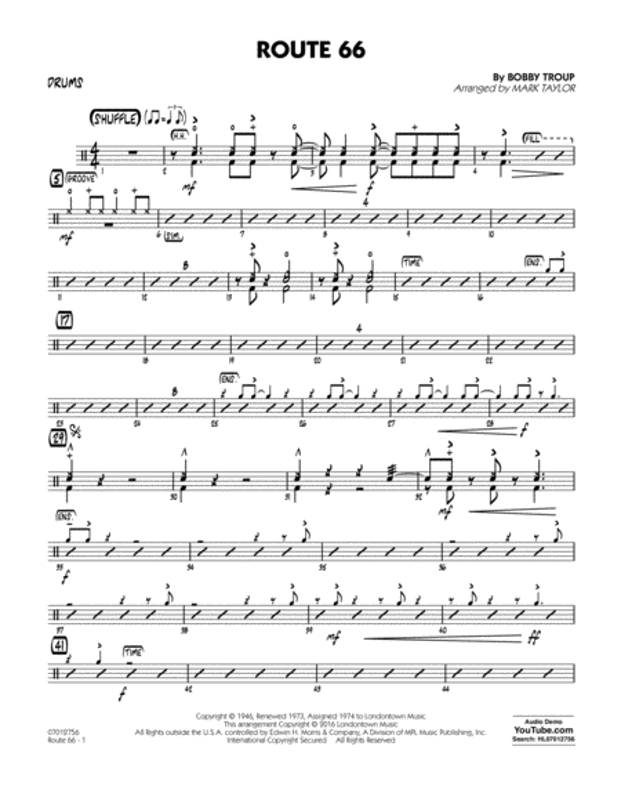 Route 66 (Key: F) - Drums