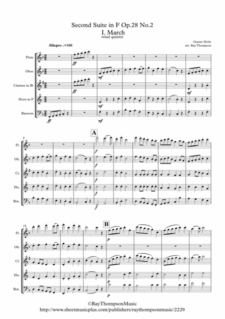 Holst: 2nd Suite in F Op. 28 No.2 (complete: all 4 mvts) - wind quintet