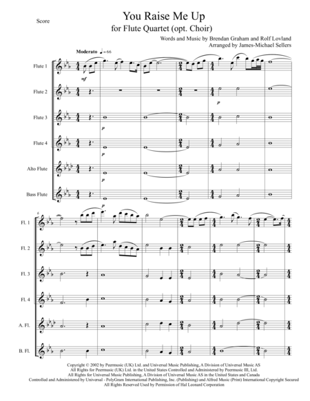 You Raise Me Up (for Expandable Flute Quartet)