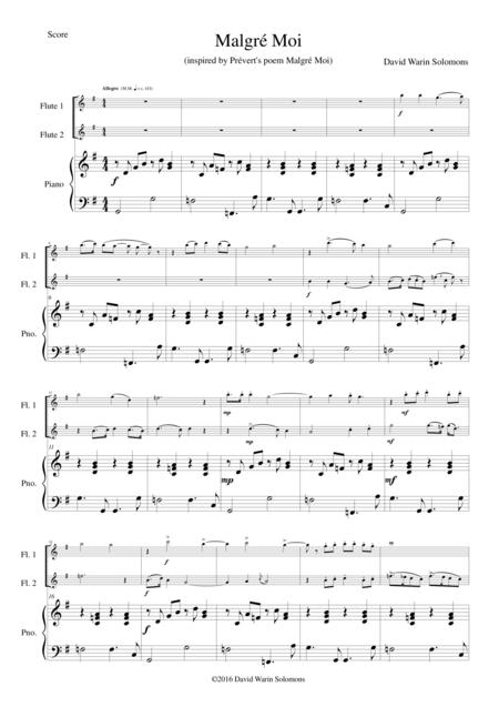 Malgré Moi (Despite myself) for 2 flutes and piano