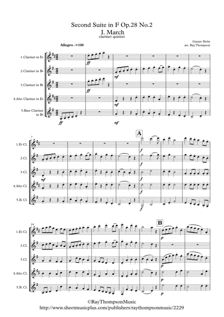 Holst: 2nd Suite in F Op. 28 No.2 (complete: all 4 mvts) - clarinet quintet