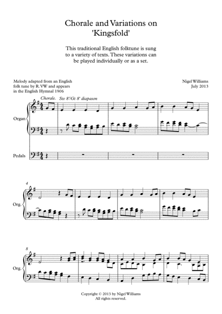 'Kingsfold' (Chorale and Variations for Organ)