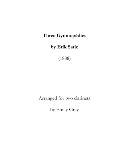 Three Gymnopedies (Clarinet Duet)