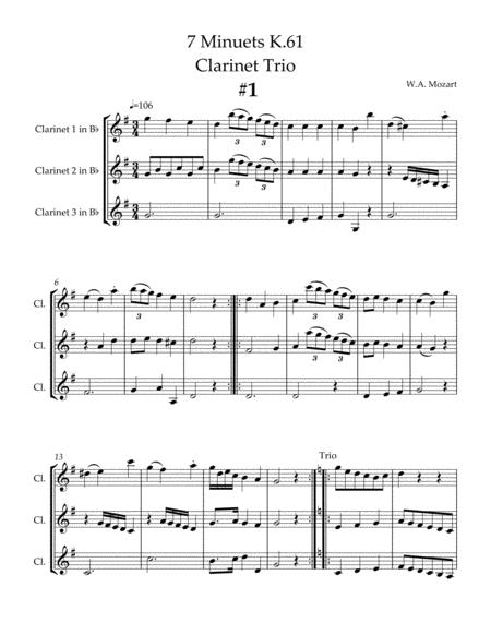 7 Minuets, K.61 for Three Clarinets