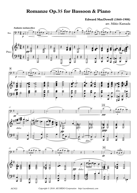 Romanze Op.35 for Bassoon & Piano