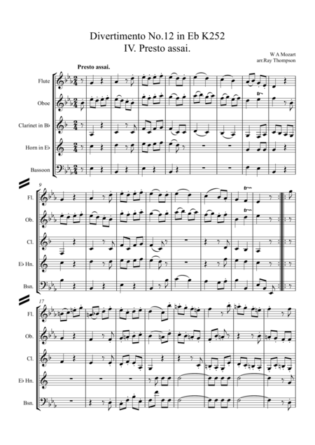 Mozart: Divertimento No.12 in Eb K252 Mvt. IV. Presto assai - wind quintet