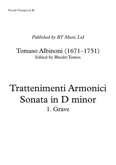 Albinoni Op.6 No.4 Trattenimenti armonici, Sonata in D minor 1. Grave. Solo parts only.