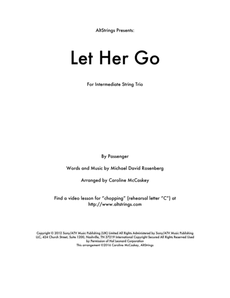 Let Her Go - String Trio (Violin, Viola and Cello)