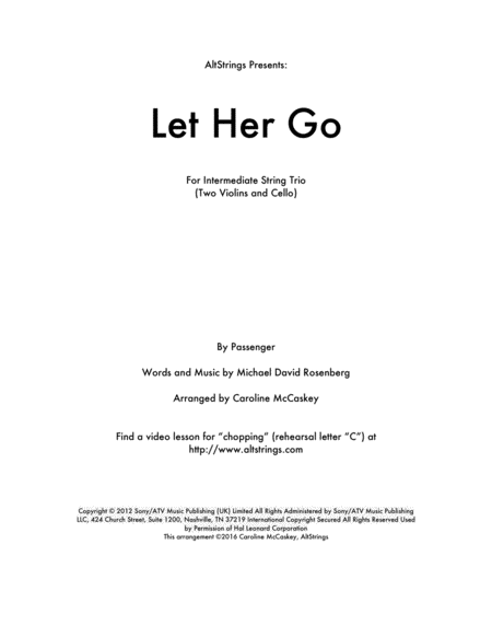 Let Her Go - String Trio (Two Violins and Cello)